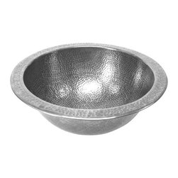 Houzer - Hammerwerks Baby Round Lavatory Sink Flat Lip - Petite Round Sink/ Flat Lip. Lustrous Pewter finish. 9.5 in. inner dimension with a 4-5/8 in. depth. 1.5 in. drain. Antique Copper Overflow assembly . Bowl Interior: 9.5 in. Dia x 4.625 in. deep.. Hand Hammered Pewter. Flat Flip. 11.75 in. W x 11.75 in. H x 4.625 in. D