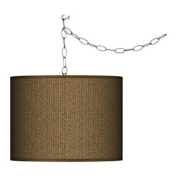Giclee Gallery - Swag Style Woven Wicker Print Giclee Shade Plug-In Chandelier - Suggesting the intricate texture of natural fibers, the Swag Style Woven Wicker Print giclee shade of this plug-in chandelier lends casual simplicity. Add instant style and glamour with this swag chandelier. It features a woven wicker pattern giclee printed onto canvas. Plug the light into any standard wall outlet, then hang the cord on included the swag hooks. Drape the cord as desired. The lamp features a brushed silver finish spider fitting and a silver cord. In-line on-off switch controls the lights. Includes swag hooks and mounting hardware. Includes 15 feet of lead wire and 10 feet of chain. U.S. Patent # 7,347,593.