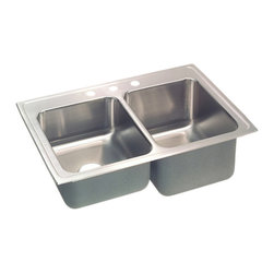 """Elkay - Elkay STLR3322R3  Gourmet Double-Bowl Sink - Elkay's STLR3322R3 is a Gourmet Double-Bowl Sink. This sink is constructed of 18-gauge type 304 nickel-bearing stainless steel, and can be mounted on almost any surface. It features a 7-5/8"""" standard bowl, a 10-1/8"""" deep bowl, and two 3-1/2"""" drain openings. This sink comes with a three-hole faucet mount, and comes with the deep bowl on the right-side."""