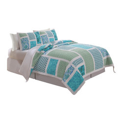 Pem America - Belfast Twin Quilt with Pillow Sham - Belfast features beautiful large bright blue and green printed panels with a stark white frame work. Quilted paisleys and floral prints are more graphic in nature and lend a younger and care free look to your bedroom. This versatile look can be used in summer cottages, teen rooms or even brighter master bedrooms!  This hand pieced, 100% cotton face quilt provides durability, comforter and fashion! Twin quilt (66x86 inches) and 1 standard sham (21x27 inches). 100% Cotton pieced face cloth. 100% microfiber polyester back. 94% Cotton, 5% polyester, 1% other fiber fill. Machine Wash cold/gentle, no bleach, tumble dry.  Pattern and size may vary due to hand crafting.