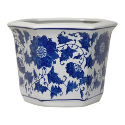 "Oriental Furniture - 10"" Floral Blue & White Porcelain Flower Pot - Durable high temperature Chinese porcelain in an interesting hexagonal shape with a classic Ming blue and white vine and flower design. Perfect for house plants or small indoor trees, either live or silk. Drainage hole in bottom for watering live plants."