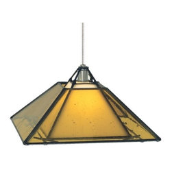 """Tech Lighting - Oak Park Pendant by Tech Lighting - The Tech Lighting Oak Park Pendant will add multi-layered and multi-dimensional Craftsman style into an interior space. A wide pyramid of translucent glass overlays a narrower one of White glass. Both are set within a contrasting Black metal frame. Available in three glass colors and three finishes on the remaining metal surfaces. For mounting options, see below.Tech Lighting, headquartered in Skokie, IL, is known for their innovative lighting systems and exquisite lighting designs. Their passion for art, sophistication and imagination is balanced by rigorous testing and quality control in the creation of their line-voltage and low-voltage lighting, including the Tech Lighting FreeJack and monorail systems and track heads.The Tech Lighting Oak Park Pendant is available with the following:Details:Four-sided Craftsman-style outer glass shadeWhite inner glass shadeBlack metal framePyrex glass shieldCeiling canopy finish matches finish option selected72"""" field-cuttable suspension cableLow-voltageETL ListedOptions:Finish: Antique Bronze, Chrome, or Satin Nickel.Mounting: Freejack, Monopoint, Monorail, or Two-Circuit Monorail.Shade: Amber, Clear, or Havana Brown.Mounting Details:Freejack: See Related Items for mounting options.Monopoint: Includes one 4"""" round flush canopy and low-voltage transformer.Monorail: Includes Freejack adaptor for Monorail installation.Two-Circuit Monorail: Includes Freejack adaptor for Two-Circuit Monorail installation.Lighting:One 50 Watt 12 Volt Bi-Pin Low-voltage Halogen lamp (included).Shipping:This item usually ships within 3 to 5 business days."""