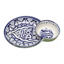 Blue & White Ceramic Dish - Handcrafted decorative glazed ceramic dish with arabesque design. Use as a tip and party tray.