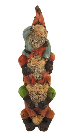 See, Speak, Hear No Evil Garden Gnome Tower Statue 16 In. - This adorable garden accent features 3 gnome buddies, reminding each other to see, speak, and hear no evil. Made of cold cast resin, the statue is made to look as though it has been carved from driftwood, and has a wonderful crackle finish. It measures 16 inches tall, 5 inches wide, 5 inches deep. This piece makes a great housewarming gift that is sure to be enjoyed year after year.