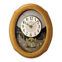 Rhythm - Timecracker Golden Oak II Magic Motion clock - The Timecracker Golden Oak II is named after its golden oak frame