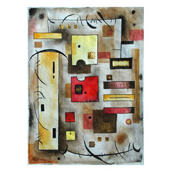 Warm Conversation Ii, Original, Mixed Media - Inspired by architectural and geometric forms, this whimsical interpretation of chit-chat has a warm and charming appeal. painted on hand made paper, the artist makes use of ink, watercolor, gouache and gold leaf in this composition. there is a sister piece.