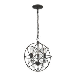 Sterling Industries - Sterling Industries 124-003 Restoration 3 Light Globe w/ Crystal Pendant - Pendant (1)
