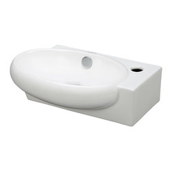 Elite Sinks - Porcelain Wall-Mounted Oval Left-Facing Sink - This modern porcelain sink will impress with its minimalist beauty. Its slightly offset oval shape will fit into small bathrooms where you still want to make a big impression. With a little more space and the proper plumbing set up, you could even have two of these beauties in your bathroom.