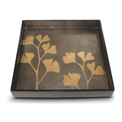Belle & June - Ginko Square Tray - More than a lovely leaf motif, gingko is a symbol of longevity, hope, resilience and peace. Evoke that vibe in your favorite setting as you use this tray to serve guests, display treasures or simply sit out looking lovely.