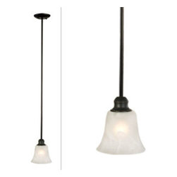 DHI-Corp - Mini Pendant Light, Oil Rubbed Bronze - The Design House 519355 Ridgeway Mini Pendant Light is made of formed steel, alabaster glass and finished in oil rubbed bronze. This ceiling light is rated for 120-volts and uses a 60-watt medium base incandescent bulb. This pendant's tulip shaped shade gently diffuses light with its frosted shade. This ceiling light measures 45.25-inches long and is designed for high ceilings and corridors. This product is UL and CUL listed for safety and quality assurance. The Ridgeway collection features a beautiful matching chandelier, vanity light, wall sconce and ceiling mount. The Design House 519355 Ridgeway Mini Pendant Light comes with a 10-year limited warranty that protects against defects in materials and workmanship. Design House offers products in multiple home decor categories including lighting, ceiling fans, hardware and plumbing products. With years of hands-on experience, Design House understands every aspect of the home decor industry, and devotes itself to providing quality products across the home decor spectrum. Providing value to their customers, Design House uses industry leading merchandising solutions and innovative programs. Design House is committed to providing high quality products for your home improvement projects.