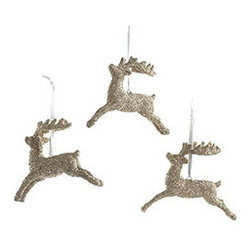 Dashing Reindeer Ornaments - Set of 3 - New - It's Dasher, Dancer, and Prancer! Or possibly Vixen, Comet, and Cupid. Regardless, these three reindeer ornaments are both regal and delightfully nostalgic, recalling nights spent straining to hear the clop-clop of hooves on the roof. Pay homage to those memories with these glittering silver ornaments, and don't forget to leave out treats for the reindeer on Christmas Eve. Made with glass glitter, so handle with care.