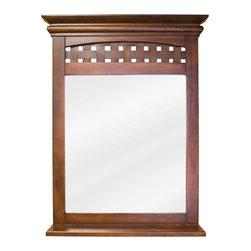 Hardware Resources - Lyn Bath Elements Mirror 26 x 4 x 34-1/4 - 26 x 34 1/4 Nutmeg mirror with 3 1/2 wide shelf and beveled glass