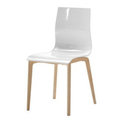 Domitalia - Gel-L Chair Set of 2 by Domitalia - The Domitalia Gel-L Chair Set of 2 pairs the technological innovation of molded plastic with the rusticity of wood. The seat of each chair is a fluid, comfortable curve of glossy transparent or opaque SAN plastic. It sits on a solid ashwood base that's whitewashed or left natural. Domitalia prides itself--and its line of contemporary furniture--on being 100% Italian. All Domitalia furniture is designed and made in Italy. In-house production of their indoor and outdoor furniture designs allows Domitalia to experiment with innovative materials and processes and keep a tight rein on quality control. The resulting pieces are modern, comfortable and sensual in form, suitable for a range of residential and contract settings.