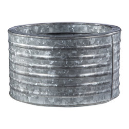 Round Galvanized Steel Planter - OK, I love these planters! Buy a few extra, throw in some ice and beverages, and you have a makeshift cooler.