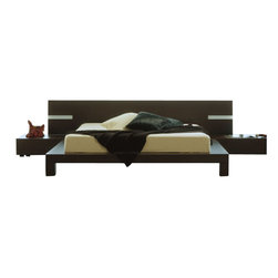 Rossetto - Rossetto Win Platform Bed in Wenge with Lights-King - Rossetto - Beds - T2666BBA83306 - The refinement alternated with strips of wood color and lighting enhances the environment with personality.