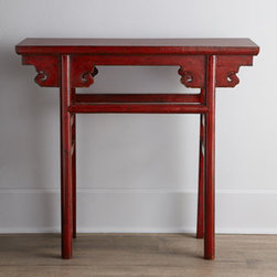 Horchow - Red Antique Wooden Table - Whether it's a pop of color or extra storage/display space that you need, this slender table with a scrolled apron is an ideal choice. Its narrow profile makes it perfect for smaller spaces. From Shanxi, China, c. 1861-1891. Wood, with a red finish. ....