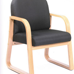 Boss Chairs Boss Oak Frame Side Chair in Black Fabric