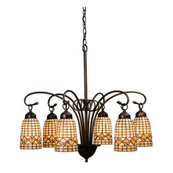 "Meyda Tiffany - 27.5""W Tiffany Acorn 6 Lt Chandelier - Louis Comfort Tiffany inspired Golden Acorns dance playfully in a ring around these geometric grid patterned elongated shades in Autumn Harvest Ivory. The simply stated six light chandelier is finished in a Warm Mahogany Bronze."