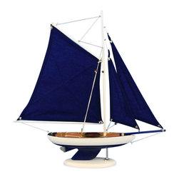 "Handcrafted Nautical Decor - Bermuda Sloop Dark Blue 17"" - Wood Model Sailing Boat - Not a Model Ship Kit"