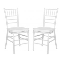 Safavieh - Carly Side Chair ( Set Of 2 ) - Whether glamorizing a wedding, anniversary or an intimate dinner at home, the elegant Carly Side Chair dresses up your special occasion in style.  A 21st century adaptation of the 200-year old Chiavari chair (named after Italian Riviera town of Chiavari where it was first designed), the classic bamboo-patterned frame is molded of sturdy but lightweight PC resin for indoor-outdoor use.  Sold in sets of two, each with plush, detachable tie-on cushion and crisp white frame, Carly is priced to own at less than you�d pay for a one-time party rental.