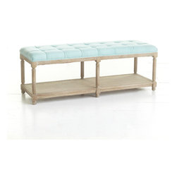 Chesterfield Bench (Various Colors) - The widely popular chesterfield-style sofa inspired this seating bench. The design is full of European details like the six, wood-turned legs, weathered oak, and, signature to the chesterfield look, hand-upholstered, pintucked linen. Though it would look great in a grand hallway with colorful tapestries or colorful pillows beneath, you might also nestle it by a dining table to add seating for a large banquet.