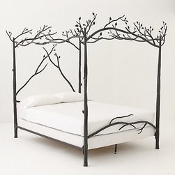 """Forest Canopy Bed - This canopy bed is pure forest fantasy. Whimsical and finely crafted, it is ideal for a child's room or a kooky adult's master bedroom. Hand-forged Iron84""""HHandmade in USA $5,298.00 (Queen), $5,598.00 (King)"""