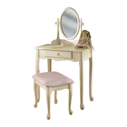 "Adarn Inc. - Lovely Off White Cream Vanity Swivel Mirror Bench Set Young Girls Make up Table - Enchanting vanity features an adjustable mirror and full size drawer. Table top provides space for cosmetics and beauty supplies. Lovely pastel pink upholstered bench. ""Off White"" finish is accented with charming Queen Anne legs. Some assembly required."