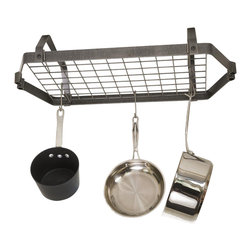 Enclume - Decor Retro Low Ceiling Rectangular Pot Rack w Grid - Hanging. Made from hammered steel. Black color. 30 in. L x 16 in. W x 6.5 in. H. Includes twelve EPHS hooks, two S-hooks, two 6 in. pieces of chain, four ceiling screw hooks and toggle kit. Mounts on 16 in. centersWe have taken the timeless and crisp design of our DR4 classic oval and made a low profile version. Beyond its great looks, this ceiling rack is superbly functional for low ceilings or tall cooks. Reflecting Enclume's highest standards of quality and durability, this rack is crafted of our signature hammered steel to deliver a long life of attractive service in your kitchen.