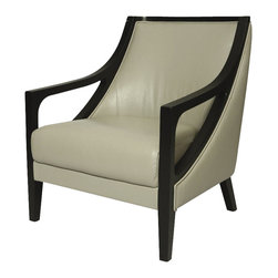 Pastel Furniture - Pastel Fouquet Club Chair - Ballarat Black Wood - Top Grain Light Gray Leather - The Fouquet club chair brings traditional comfort with clean and contemporary style. This chair is upholstered in top grain light gray leather with ballarat black wood frames adding not only a stylish look but modern appeal as well.