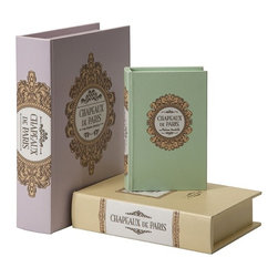 iMax - Paris Book Boxes, Set of 3 - Store small items and add a touch of color to any shelf with this set of three book boxes. Great for any children's  area or French themed room.