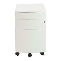 Euro Style - Euro Style Floyd File Cabinet 27985WHT - Two smaller upper drawers for rocks, scissors and paper. You could use the rocks for paperweights when the game is over. The bottom drawer is a 22 inch file cabinet full extension slides and a supporting front coaster.