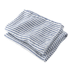 Brahms Mount - USA Made Brahms Mount Linen Bath Towel, Pearl/Blue, Body - Elevate the everyday. Treat yourself to the incomparably smooth hand, durability and super-absorbency of our pure linen bath and kitchen towels. Made in Maine, USA since 1983
