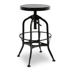 Design Lab MN - Toledo Adjustable Barstool in Black - Originally designed in the early 1900s, the Toledo Stool was created with schools, industrial shops and drafts people in mind. Their charming finished metal stool creates a look that can go vintage industrial, mid-century modern, traditional or contemporary. Our reproduction Toledo style bar stool its perfect for any restaurant, bar or home with its modern classic design. The adjustable seat means it will work with all different counter heights.