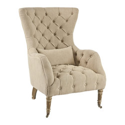 Kathy Kuo Home - Olivia Large Tufted Washed Hemp Wing Back Arm Chair - Our most comfortable chair yet, the clean lines of this sleek wingback are balanced with a durable and universal washed hemp. The tufting brings a little old world character to the chair however remains extremely comfortable, almost conforming to the body.