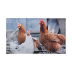 Esschert Design - Printed Doormat - Chickens - You may rule your roost but nothing get's a mother hen perturbed more than dirty footprints tracked indoors. Thwart that possibility with this nifty, affordable printed chicken doormat made of ecofriendly recycled rubber.