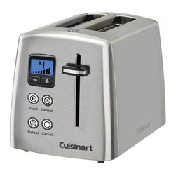 Cuisinart - Cuisinart 2-Slice Countdown Metal Toaster - Do breakfast better. This little wonder lets you defrost before toasting, reheat without additional browning and, boy, does it know its way around a bagel — reducing heat on the uncut side for superior shmearing.