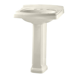 """American Standard - American Standard 0555.801.222 Portsmouth Townsend Pedestal Sink, Linen - American Standard 0555.801.222 Portsmouth Townsend Pedestal Sink, Linen. This pedistal sink set is designed with a vitreous china construction, a front overflow, and a faucet ledge with a large deck area. This turn-of-the-century styled sink comes with 8"""" centered faucet mounting holes, and measures 24-3/8"""" by 19-1/2"""", with a 5-3/4"""" bowl depth, and stands at 35-7/16"""" from the floor to the top of the sink."""