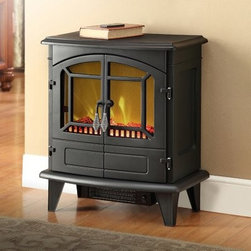 Muskoka Phoenix Electric Stove - The authentic wood stove style of the Muskoka Phoenix Electric Stove is no mere affectation. This powerful little heater packs a warm punch: a 4,095 BTU heating capacity, enough to heat up to 400 square feet of space. The cozy atmosphere it creates makes it all the more easy to admire its traditional design, which includes dual operable doors, wood stove-style handles, and a classic mesh covering the ultra-realistic LED flame and faux log bed. Constructed from durable steel in a classic black finish, this portable heater comes with a remote control for easy adjustment of both flame and heat settings (including a heatless flame only option).About Greenway Home ProductsGreenway Home Products is a diversified home products company that designs, develops, manufactures, and markets an extensive line of residential appliances. The extensive line-up of products includes water dispensers, water treatment accessories, laundry racks, solar fountains, wine cabinets, and electric fireplaces, all of which incorporate cutting-edge design and technology. Designed and engineered in Canada, all of Greenway's products are made with a strong commitment to design and innovation.Warranty: This product has a 1-year manufacturer warranty. For more warranty information, please contact Greenway Home Products at 1-866-282-0533.
