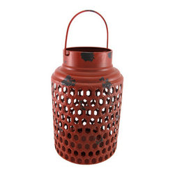 Round Red Metal Candle Lantern Distressed Finish 12 In. - This decorative lantern is a beautiful accent to tables in your home or on your porch or patio. Made of metal, it measures 12 inches tall, has an 8 inch diameter, and has a metal handle so you can hang it up. It can accommodate candles up to 10 inches tall, 4 1/2 inches in diameter, and top is open so you can easily change them. A fun alternative to traditional candles is battery powered LED candles with timers, for worry-free accent lighting. This lantern is a great addition to your home, and it makes a lovely gift.