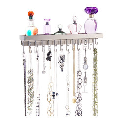 Necklace Holder Organizer - Schelon Necklace Rack - The Schelon Necklace Rack is a necklace holder and organizer that was specifically designed for long necklaces, bracelets, long and extra long hook dangle pierced earrings. As an added feature there is also a very useful accessory tray on the top that is great for small perfume bottles, nail polish, cosmetics, rings, broaches and other items.