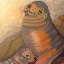 """""""New Zealand Sea Lions"""" (Original) By Kelly Turner - These Are Hooker Sea Lions From New Zealand."""