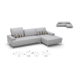 "Beverly Hills Furniture Inc. - Urban Sectional Sofa in Gray - Bring this both functional and stylish sectional sofa that offers maximum space to relax and lovely design. High density foam seating and back cushions for your additional comfort. Also, the sectional has full leather covering, metal legs, ""Push Back"" backrests, and tufted seating."