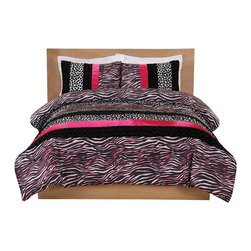 Pem America - Pink Zebra Leopard Stripe Twin Comforter with Sham - Bring the wild side into your room with black and white leopard and zebra prints with a splash of pink for color.  This easy care microfiber comforter is a centerpiece for your room at home or college. 1 Twin Comforter, 66x86 inches and 1 standard size sham, 20x26 inches. 100% microfiber polyester face with 100% polyester fill. Machine washable.