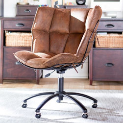 "Trailblazer Glove Swivel Chair - I like to call this the ""I want the comfort of an ugly chair without the ugly"" chair. The wide back and cushioned seat are bound to be comfy for a few hours of work. (And it looks a bit like a baseball glove, no?)"