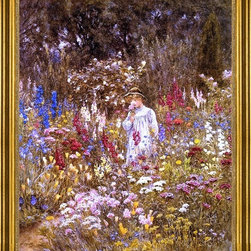 """Helen Allingham-16""""x20"""" Framed Canvas - 16"""" x 20"""" Helen Allingham A Cottage Garden framed premium canvas print reproduced to meet museum quality standards. Our museum quality canvas prints are produced using high-precision print technology for a more accurate reproduction printed on high quality canvas with fade-resistant, archival inks. Our progressive business model allows us to offer works of art to you at the best wholesale pricing, significantly less than art gallery prices, affordable to all. This artwork is hand stretched onto wooden stretcher bars, then mounted into our 3"""" wide gold finish frame with black panel by one of our expert framers. Our framed canvas print comes with hardware, ready to hang on your wall.  We present a comprehensive collection of exceptional canvas art reproductions by Helen Allingham."""