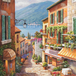 Murals Your Way - Village Steps Vinyl Wall Decal, Wall Art - Whether for alfresco dining or shopping for bargains, this sun-drenched village street beckons exploration