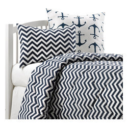 American Made Dorm & Home - Navy Chevron Oversized Twin Comforter with Matching Sham - This Navy Chevron comforter is quilted in a diamond pattern and filled with 5 oz. of polyfil to keep you warm at night! The comforter comes with one matching sham. High quality, made to last, fits both dorm and home twin beds. Made in USA. Other pillows shown are not included.
