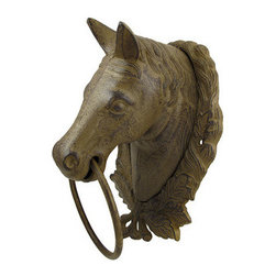 Large Cast Iron Horse Bust Towel Ring Wall Decor - This cast iron towel ring features a horse bust, encircled by a wreath, and is a lovely addition to your home. It measures 13 1/2 inches tall, 9 inches wide, 7 inches deep, and has an antique rust finish. This piece is a decorative, yet functional, accent and makes a great gift for equestrian friends. NOTE: Mounting hardware not included.