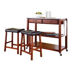 Crosley Furniture - Crosley Solid Granite Top Kitchen Cart/Island with Stools in Classic Cherry - Crosley Furniture - Kitchen Carts - KF300534CH