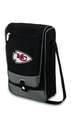 "Picnic Time - Kansas City Chiefs Barossa Wine Tote in Black - The Barossa is so sleek and sophisticated, you'll want to take it with you every chance you get. It's made of 600D polyester and features an adjustable shoulder strap that makes it easy to carry and a flat zippered pocket on the exterior flap. The Barossa is fully insulated to keep your wine the perfect temperature and has a divided interior compartment to separate your bottle of wine from the 2 (8 oz.) acrylic wine glasses included. Also included are: 1 stainless steel waiter style corkscrew, 1 bottle stopper (nickel-plated), and 2 napkins (100% cotton, 14 x 14"", Black with silver pinstripe). The Barossa wine tote is perfect for picnics, concerts, or travel and makes a wonderful gift for those who enjoy wine.; Decoration: Digital Print; Includes: 10 stainless steel waiter style corkscrew, 1 bottle stopper (nickel-plated), and 2 napkins (100% cotton, 14 x 14"", Black with silver pinstripe)"